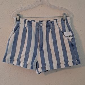 •FOREVER 21• white & denim striped cuffed shorts